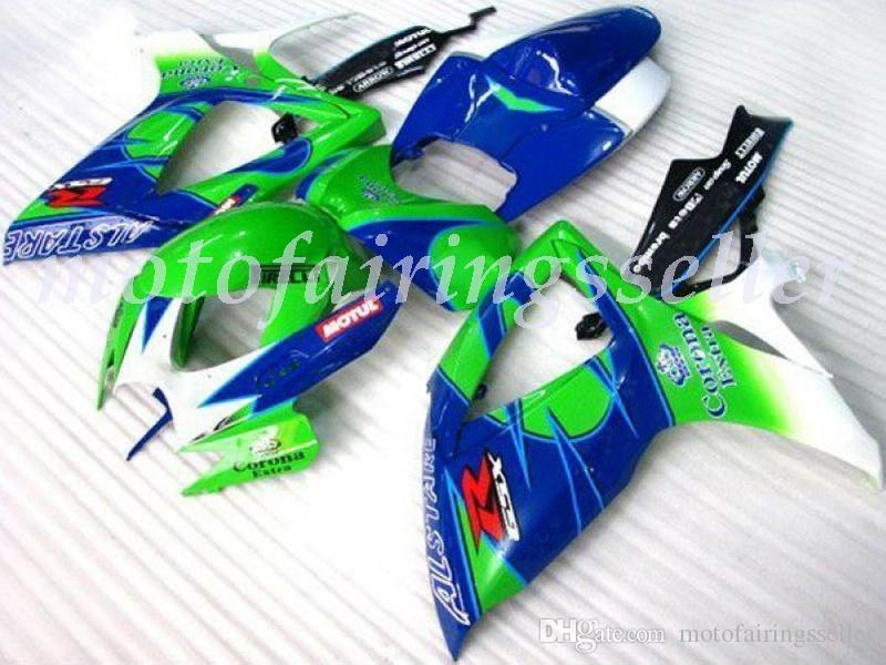 New ABS carenagens de plástico Kit Fit For Suzuki GSXR600 GSXR750 GSXR600 R750 K6 2006 Mold 2007 Injection azul-verde