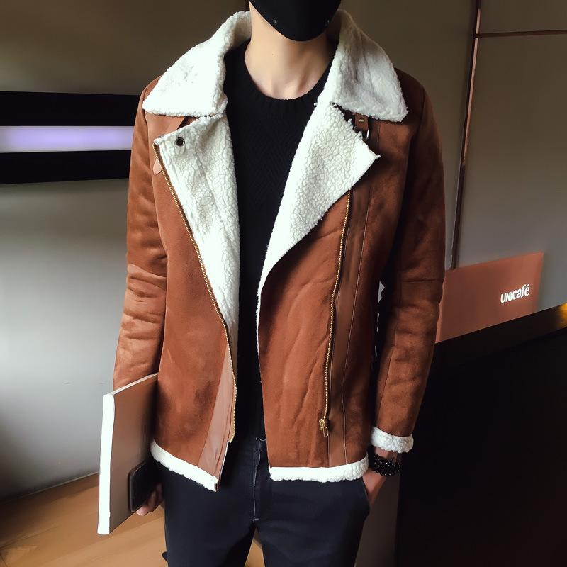 bc57263b7f20f 2019 Fur Collar Faux Leather Jacket Men Winter Brown Suede Jacket Fleece  Warm Bomber Coats Male Outwear From Gloriana, $62.42 | DHgate.Com