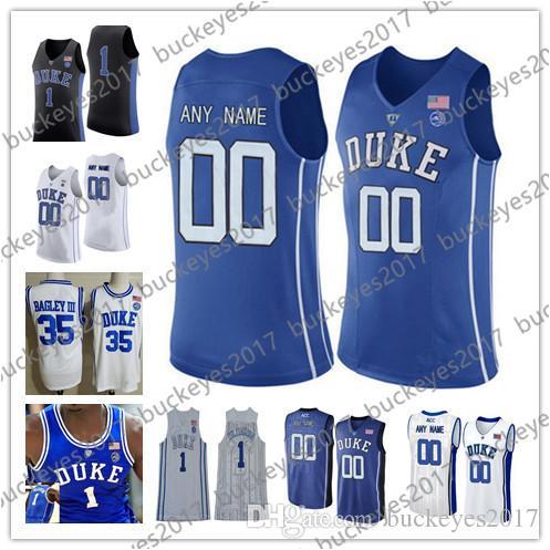 1c38fa63d94 2019 Custom 2019 NCAA Duke Blue Devils Any Name Number Black Blue White Stitched  College Basketball Jerseys Tre Jones Reddish Williamson Barrett From ...