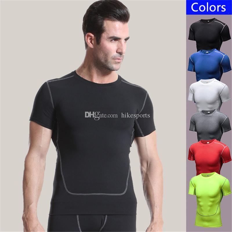 b3e78b53122 2019 Mens Running Workout Tops Shirts Compression Gym Short Sleeves Fitness  Training Riding Sports Shirt Breathable Slim Elastic Tight Sportswear From  ...