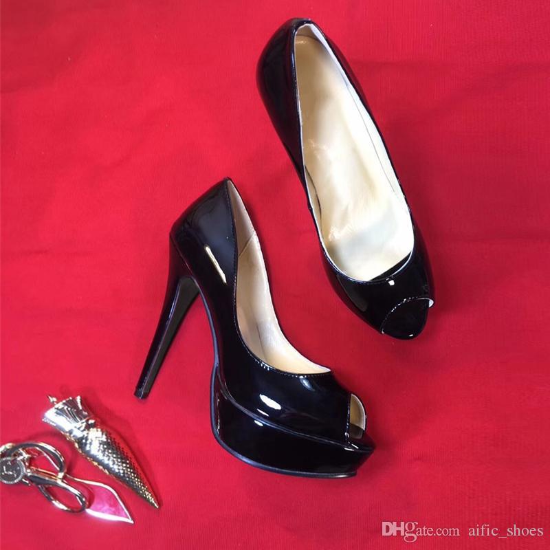 9d98455cf Compre Designer De Marca De Moda Mulheres Sapatos De Salto Alto Vermelho  Inferior Alta 13 Cm Meninas Sexy Partido Sapatos De Couro Genuíno Sandálias  Sapatos ...