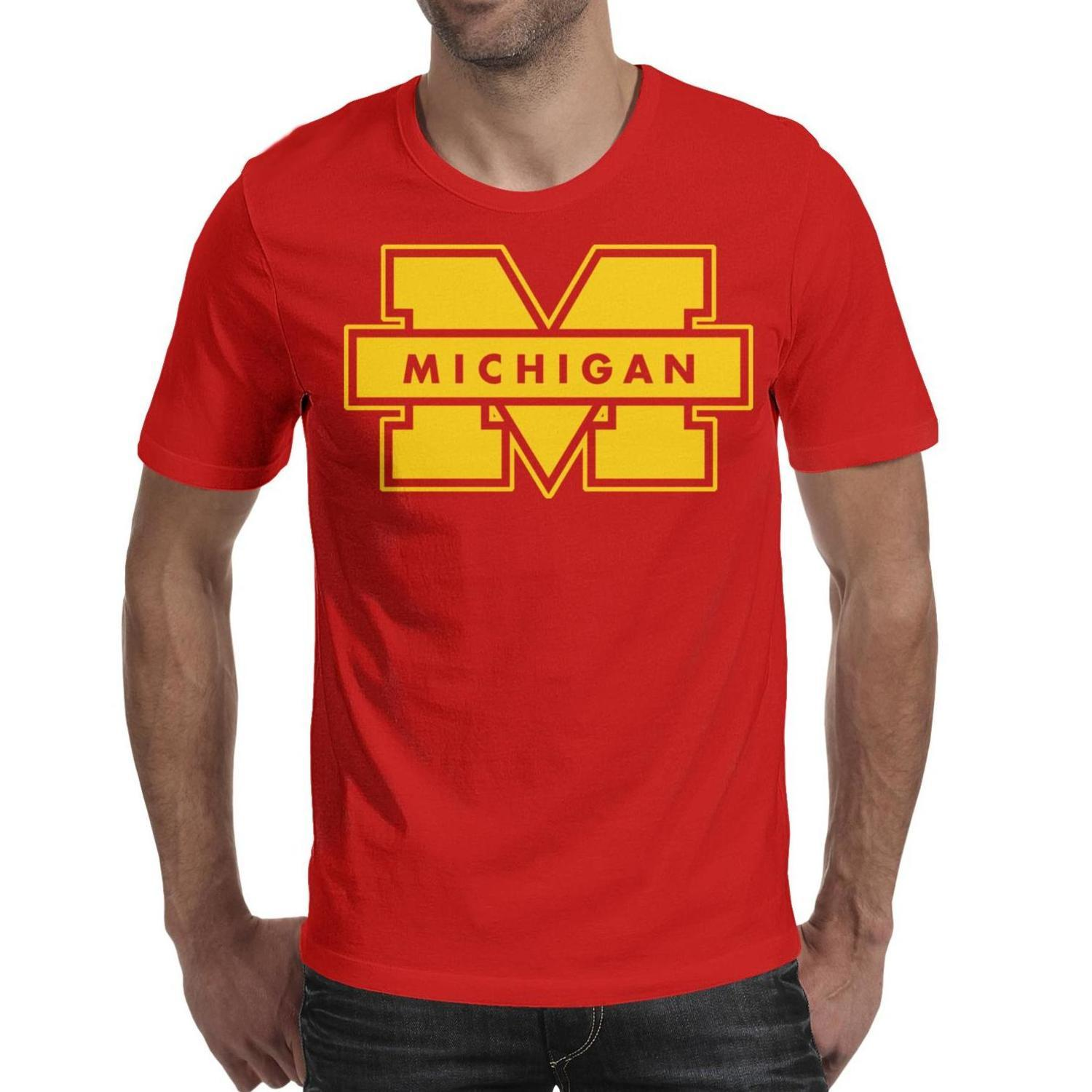 b7a26bc85 Michigan Wolverines football logo Man's T-Shirts Graphic Summer Cotton  Short Sleeve Shirts Best Man T Shirt Vintage T Shirts for Man
