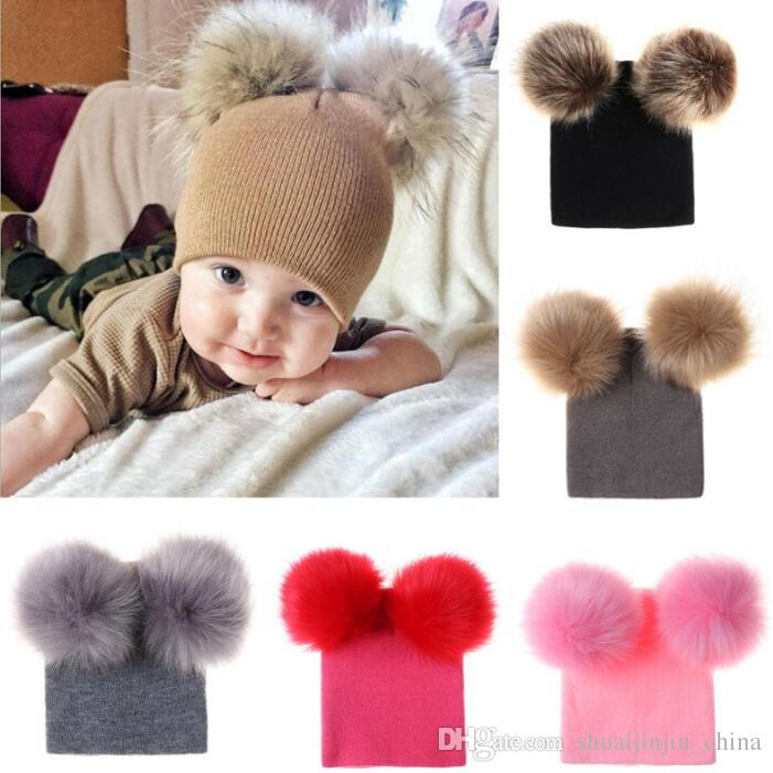 198e8a875ed INS Kids Double Fur Ball Beanies Knitted Hats Baby Fur Pom Ski Cap Beanies  Winter PomPom Caps Party Hats CCA10881 Beanies For Girls Baby Hat From ...