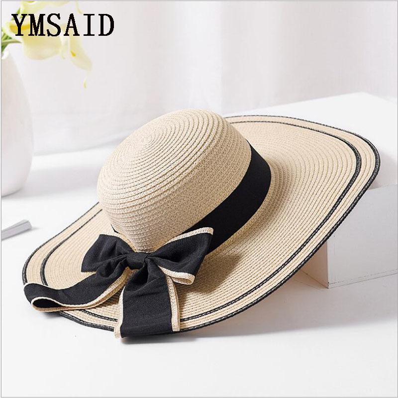 81fd9d28 Ymsaid Summer Big Bowknot Straw Hats Foldable Beach Hats For Women Female  Sunbonnet Ladies Vacation Large Wide Brimmed Sun Hats C18122501 Mens Straw  Hats ...