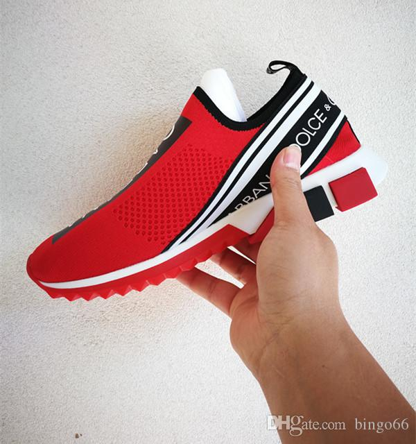 Branded Men Stretch Jersey Sorrento Slip on Sneaker Designer Lady Two tone Rubber Bottom Micro Sole Casual Shoes Size EU35 45
