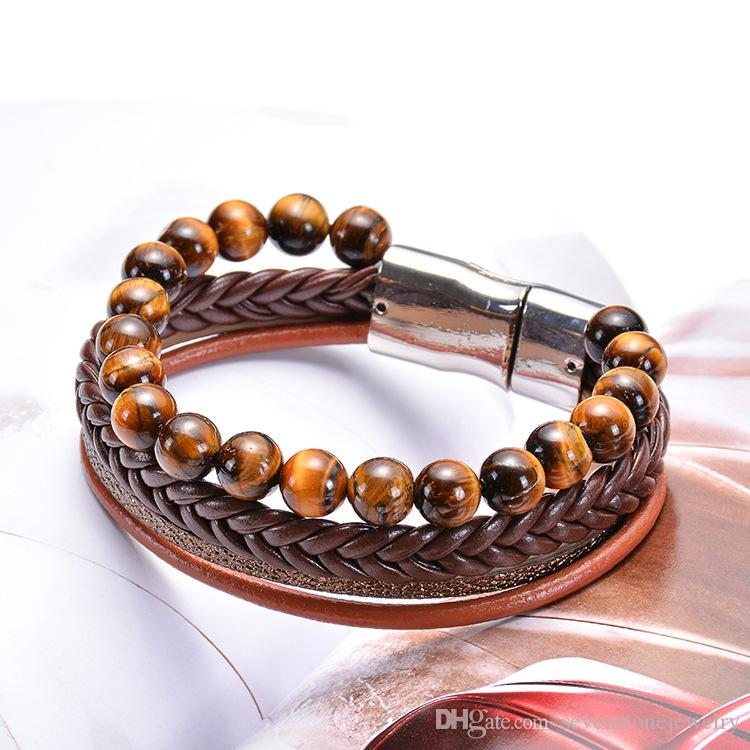 8f0de48560440 Men's beads leather bracelet beaded men's leather gentleman temperament  mature daily wear bracelet