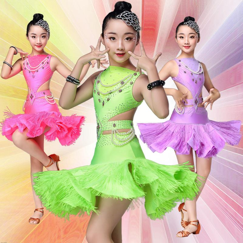 99fa6f058 2019 Children Sequin Professional Latin Dance Dress For Girls Ballroom  Fringe Costumes Kids Modern Tassel Girl Ballroom Salsa Rumba From Sadlyric,  ...