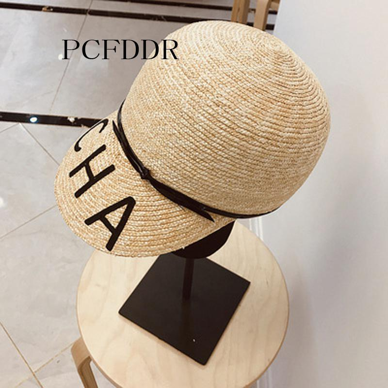 PCFDDR New Spring and Summer Baseball Cap with Little Fragrance Alphabet Barley Straw Female Straw Hat.