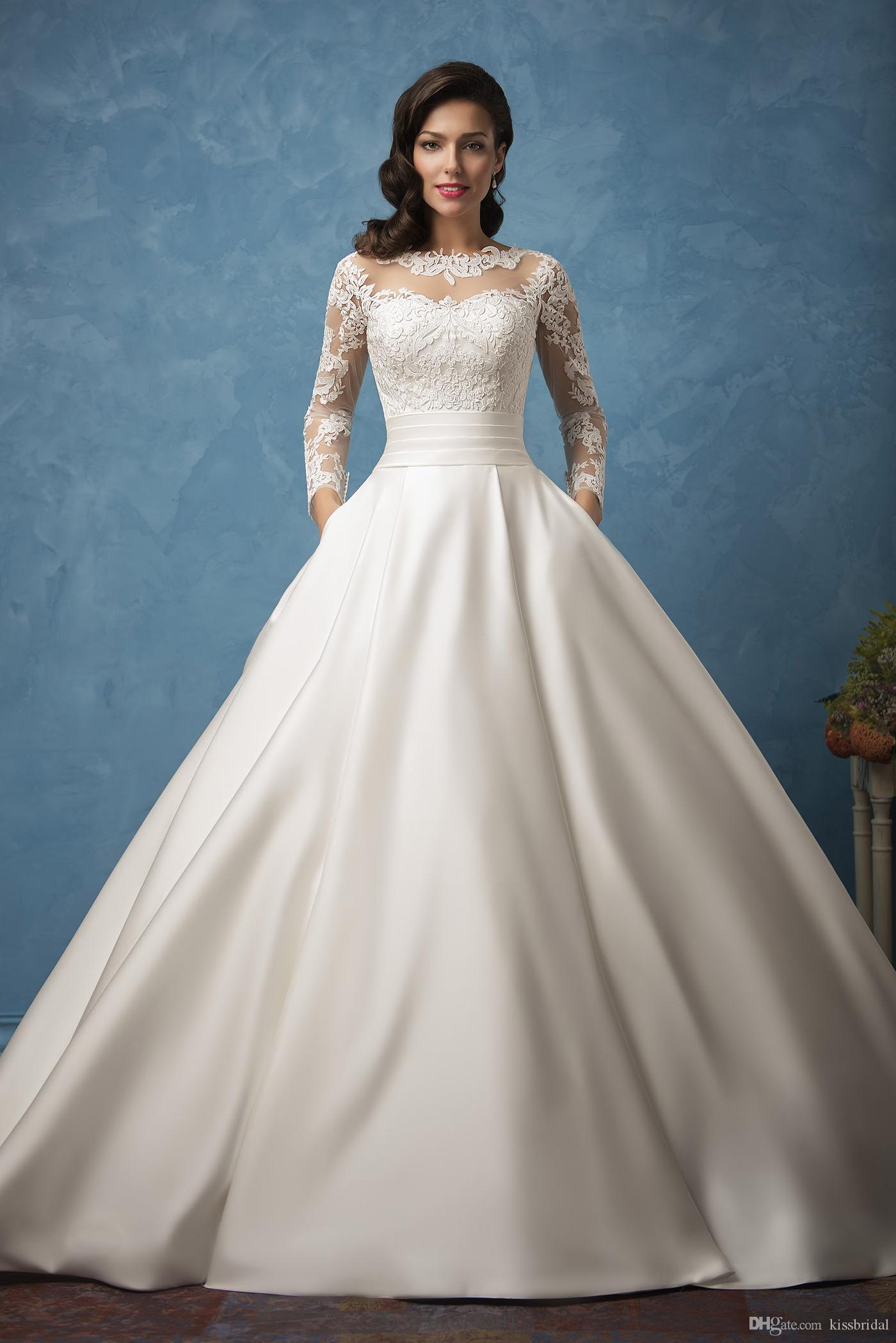 long sleeve ball gown wedding dresses 2019 elegant sheer