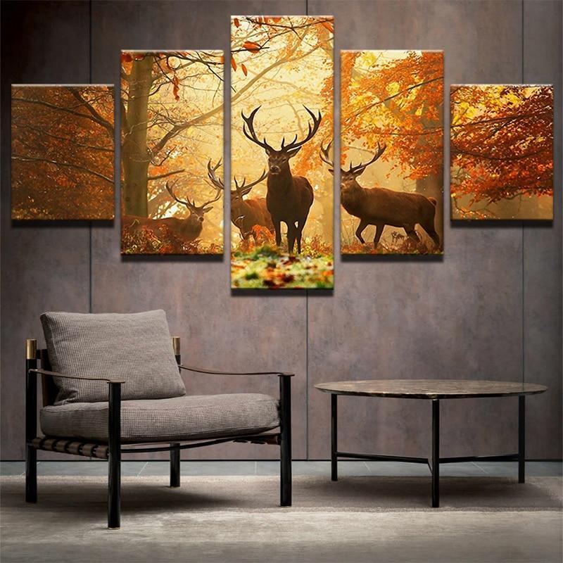 Großhandel Wandbilder Für Wohnzimmer 5 Panel Tier Deer Nordic ...