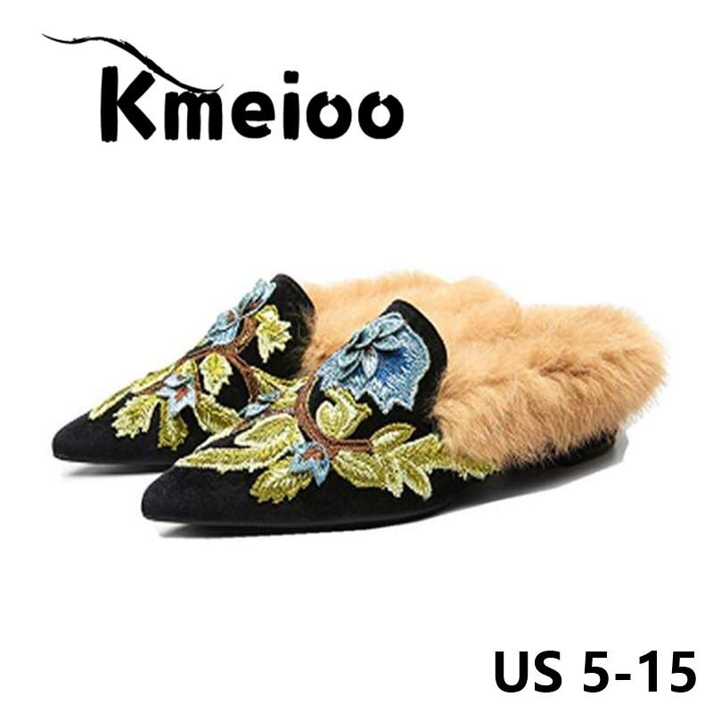 2c9f360b7bffb Kmeioo US Size 5-15 New Slip On Loafers Womens Embroidery Mule Shoes with  Plush Lamb Fur Velvet Backless Pointed Toe Mule Slides