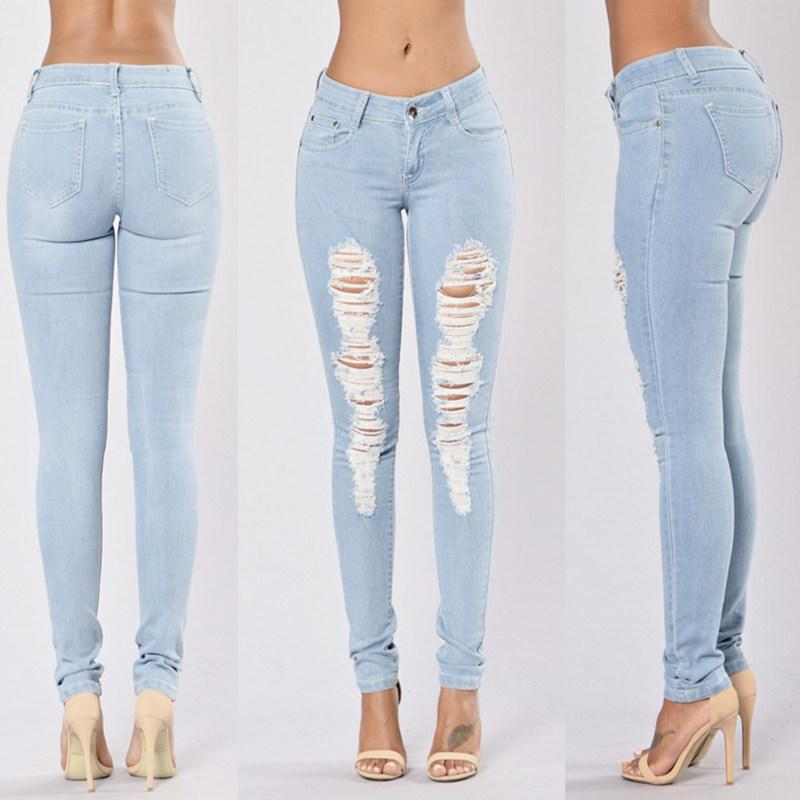 b6f50602 New 2016 Skinny Jeans Women Denim Pants Holes Destroyed Knee Pencil Pants  Casual Trousers Light blue Stretch Ripped Jeans