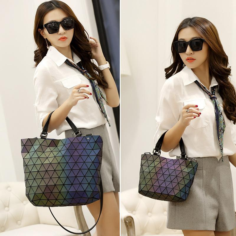 6ca073f11055 New Fashion Japan Style Laser Baobao Bag Geometric Fold Over Diamond  Luminous Women Brand Handbags Bag Bao Bao Issey Sac Online with   57.08 Piece on ...