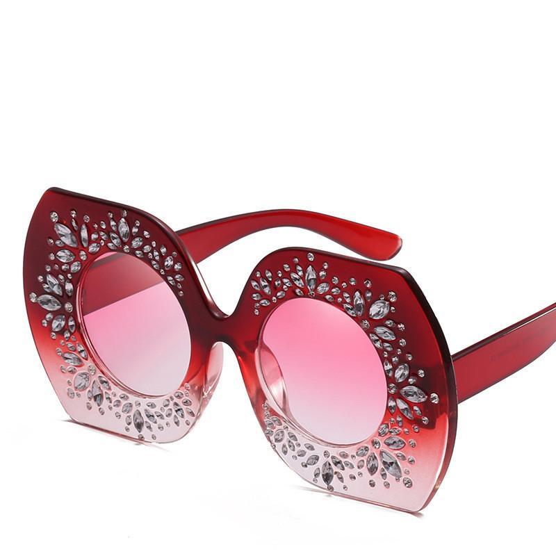 25efdf71bbec Women Over Sized Sunglasses Fashion Bling Bling Style Lady Street Beach  Glasses Luxury Big Frame Sunglass Uv Protection Eyewear Heart Sunglasses  Circle ...