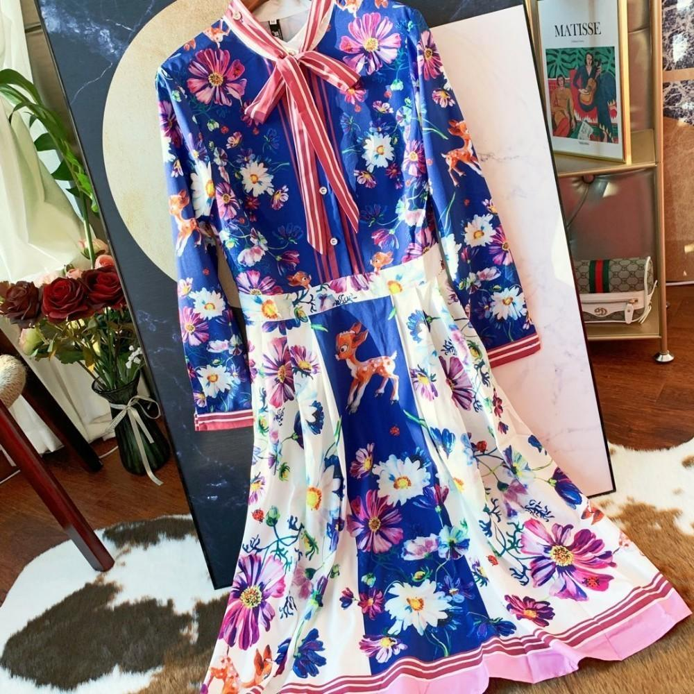 Womens dress fashion casual suit retro style color flower print summer dress women clothesc