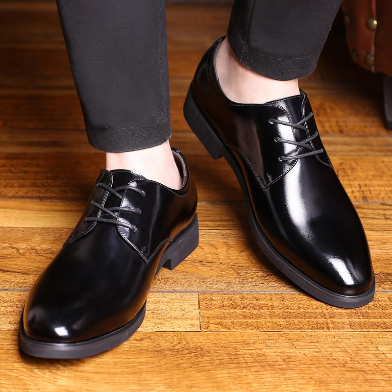 Men's Shoes Mens Leather Shoes Mens Leather Summer 2018 New Mens Business Dress Korean Style Casual Black Leather Shoes Special Buy
