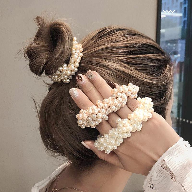12 Colors Woman Elegant Pearl Hair Ties Beads Girls Scrunchies Rubber Bands Ponytail Holders Hair Accessories Elastic Band