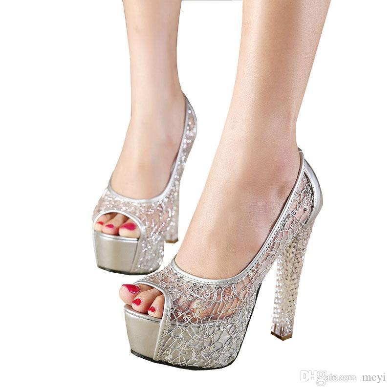 Haute Chaussures Mariage Toe Femmes Haut Chunky Qualité Grenadine De Pour Peep Talons Cristal Robe Sandales Sandale WH2YEID9