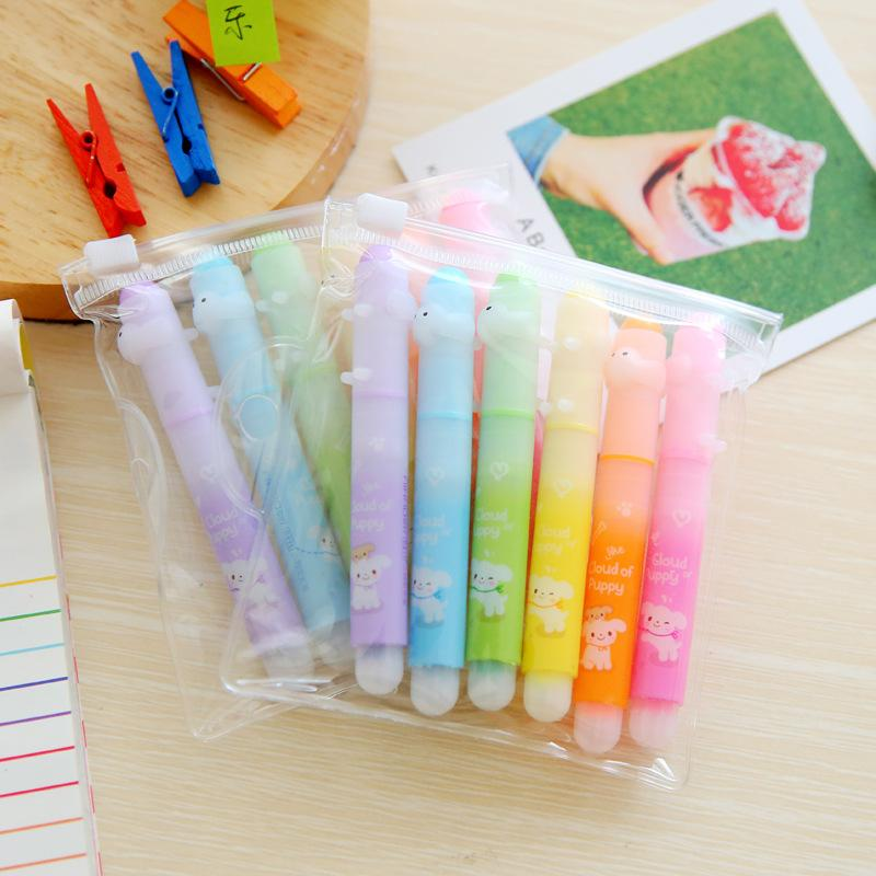 Coloffice 1set(6Pcs) Cute Kawaii 6 Color Mini Rainbow Highlighter Pen Stationery Sets Office School Supplies Gift Korean Student