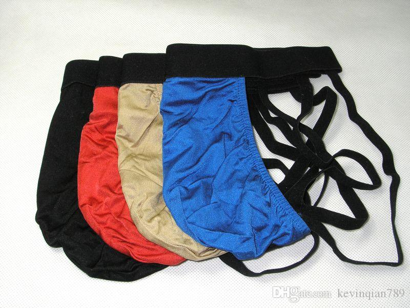 4 Pair New Pure Silk Men Jock Straps G String Thong Briefs Size S/M and L/XL