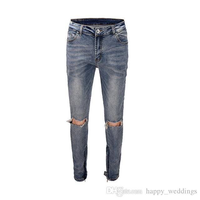 699faf67ffa Compre 2019 Icono Negro Lavado Profundo Flaco Ajuste Agujeros Rotos Hombres  Pantalones Vaqueros De Mezclilla Pantalones Hiphop Streetwear Hombres  Pantalones ...