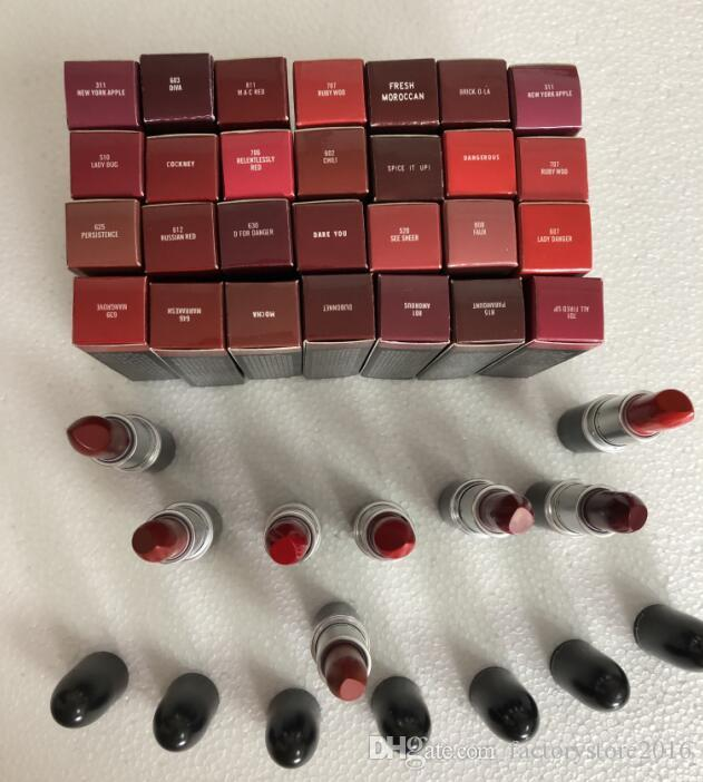 Top Quality Brand Lipstick Matte Rouge A Levres Aluminum Tube Lustre 29 Colors Lipsticks with Series Number Russian Red Diva