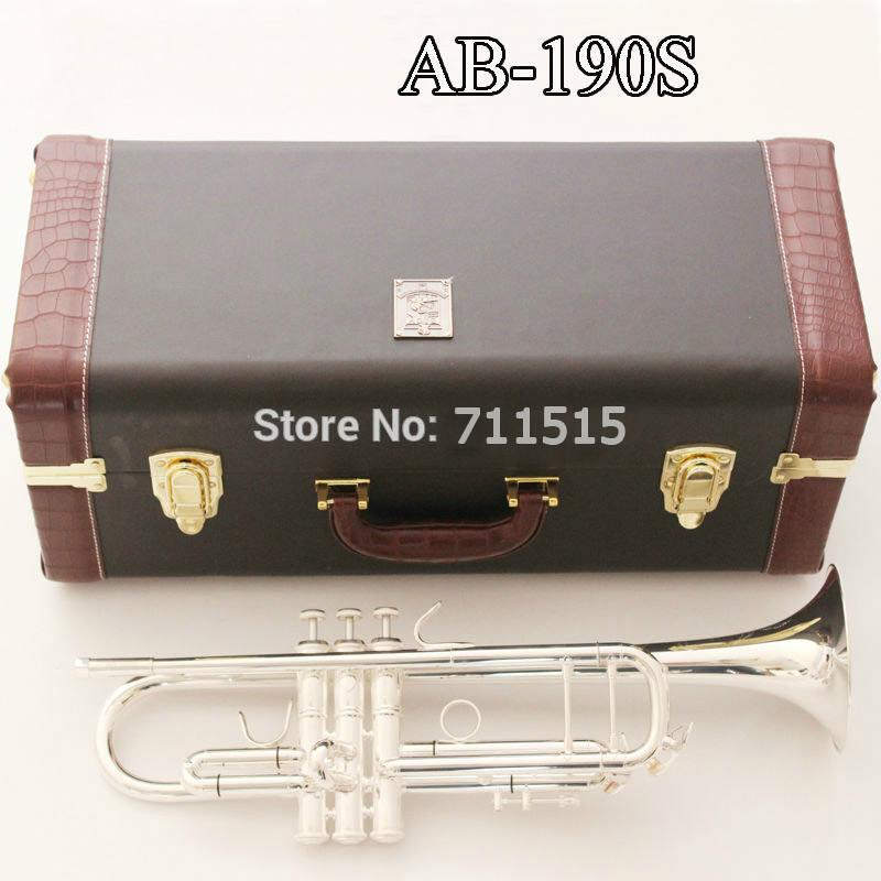 New Arrival Free Shipping Bach AB-190S Brass Bb Trumpet High Quality Silver Plated Professional Musical Instruments With Case Accessories