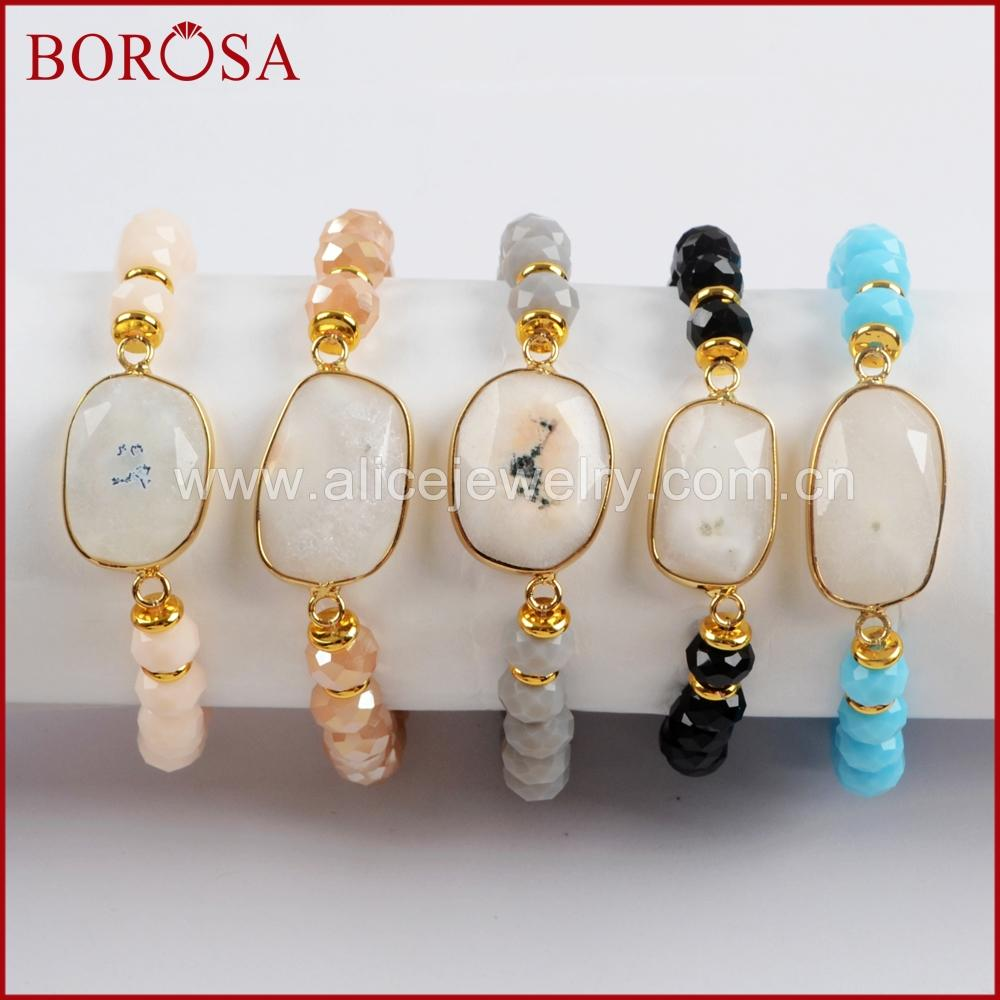 BOROSA 5PCS Gold Color Natural White Solar Quartz Faceted With 8mm Glass Crystal Beads Bracelets Gems Bangle Women Jewelry G1551