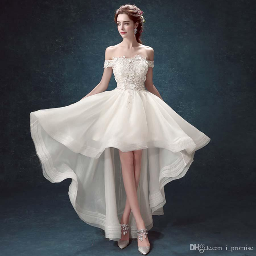 Discount Sexy High Low Wedding Dresses Cheap With 3d Floral White Strpless Bridal Gown Off The Shoulder Lace Dress Gowns: White High Low Wedding Dress At Reisefeber.org