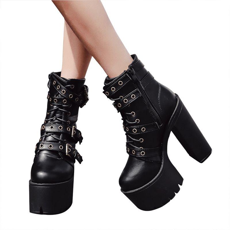 3a15f80cd75 Compre Sexy Remache Negro Botines Mujer Plataforma Suave Otoño Invierno  Otoño Botas De Mujer Con Cremallera Ultra High Heels Shoes H 039 A $98.35  Del ...