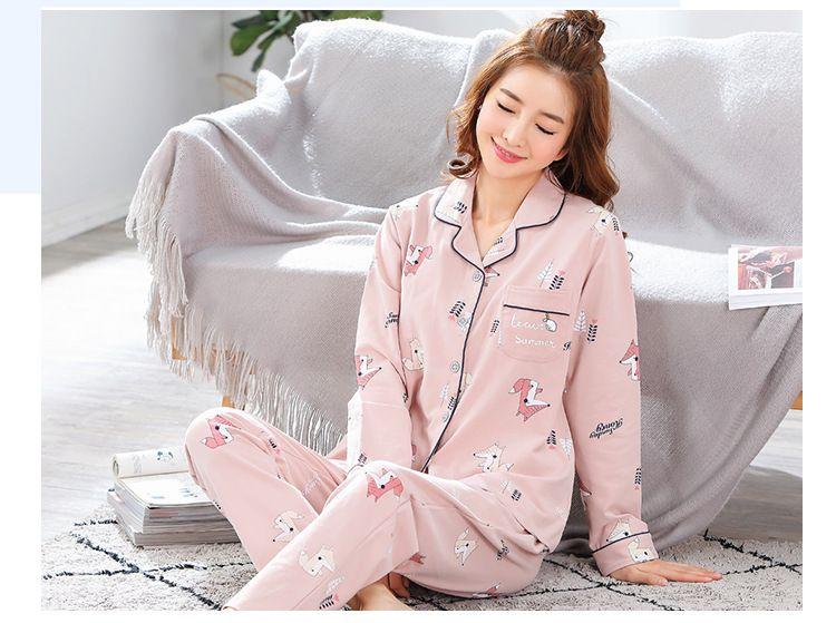 0dd3bb3830 Compre Pijamas De Otoño De Algodón Para Mujer Servicio A Domicilio De Manga  Larga Otoño E Invierno De Dibujos Animados Traje De Chaqueta De Punto De  Casa De ...