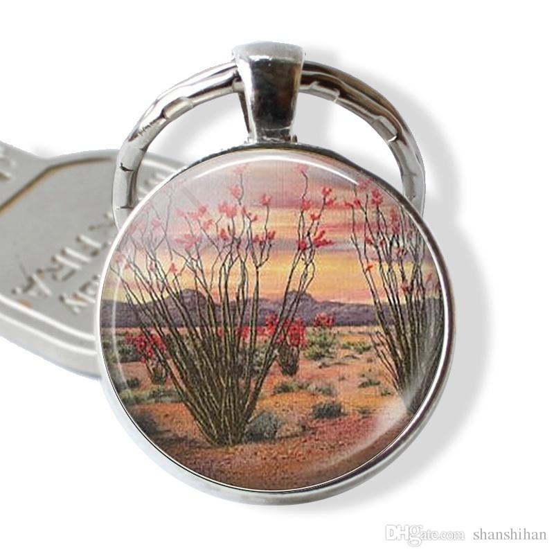 Ocotillo Cactus Key Ring Handmade Glass dome Cabochon Desert Jewelry Gift for Plant Lovers Birthday Gift Fashion Silver Plated Keychain,