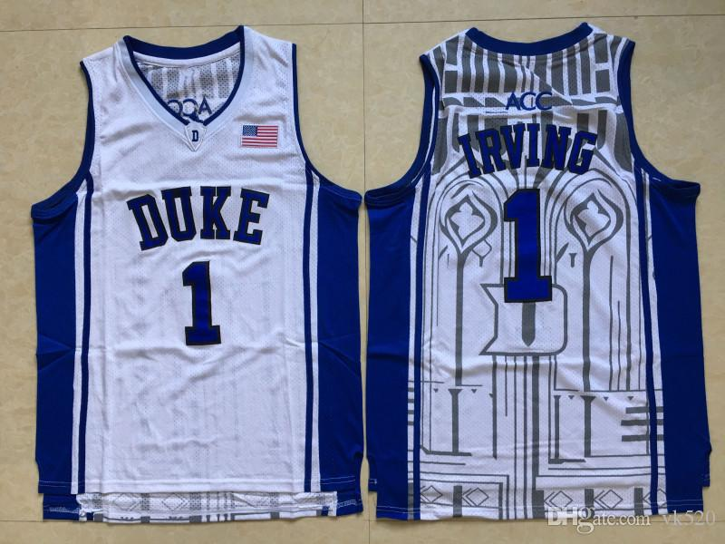 promo code a16b0 ef3f1 NCAA #1 Kyrie Irving White Blue Duke Blue Devils College Jerseys St.Patrick  #24 Irving Basketball Jersey Stitched Shirts Printed logos