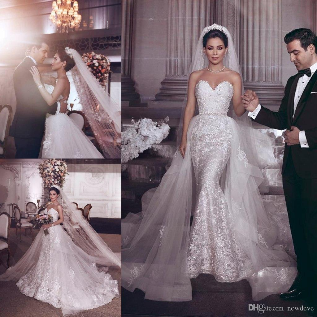 75de9e7e65f3 2019 Luxurious Wedding Dresses With Veils Sweetheart Lace Appliques  Bohemian Mermaid Bridal Gowns Dubai Boho Detachable Train Wedding Dress  Discount Wedding ...