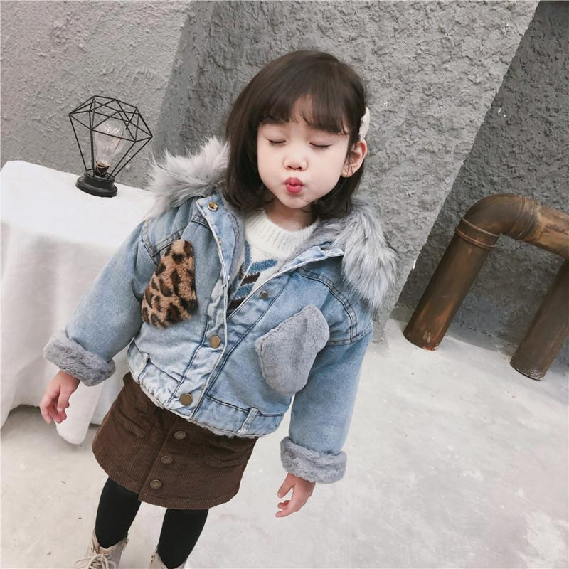 ff135bfc9 Cold Russian Girls Leopard Packet Coats Denim Jacket Kids Clothes ...