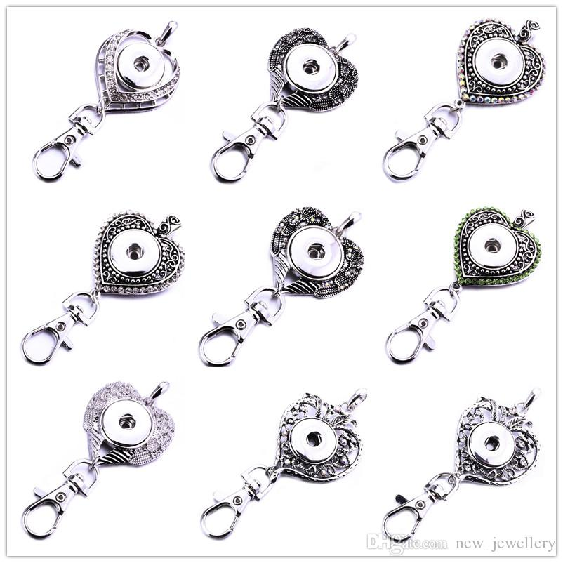 Mixed styles Noosa Snap Button Jewelry Beautiful Heart Snap Key Chains Crystal 18MM Snap Button Keychains Key Rings Keyring for Women