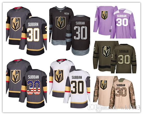 san francisco 68e99 8bea7 Vegas Golden Knights jerseys #30 Malcolm Subban jersey ice hockey men women  gray white black Authentic winter classic Stiched gears Jersey