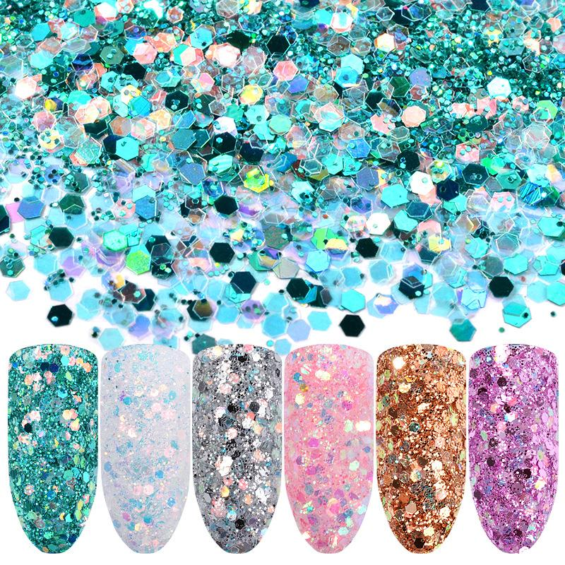 New Mermaid Hexagon Scales Nail Art Decoration Sequins Holographic