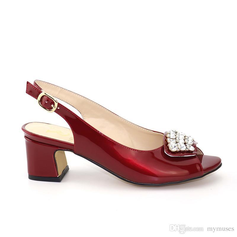 compre 2019 el más nuevo vino de color rojo zapatos de boda