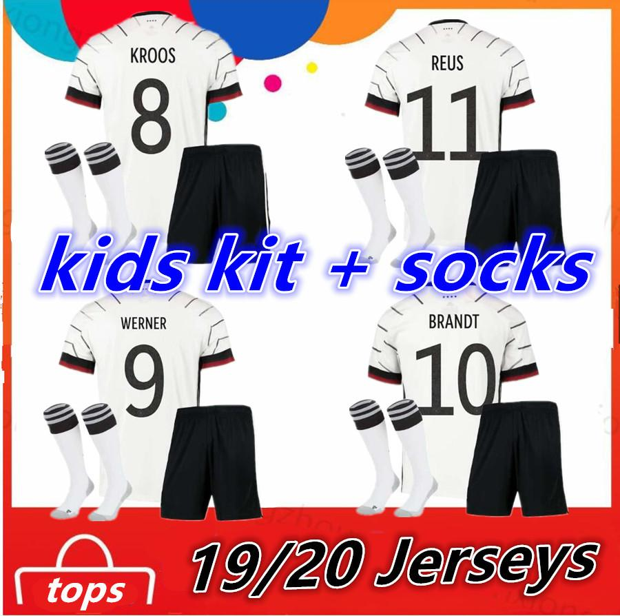 2020 2021 Germany Kids Kit + socks Home Child Boy Girl Clothes Toddler Junior Football Uniform Soccer Jersey KROOS REUS Kinder Trikot shirts