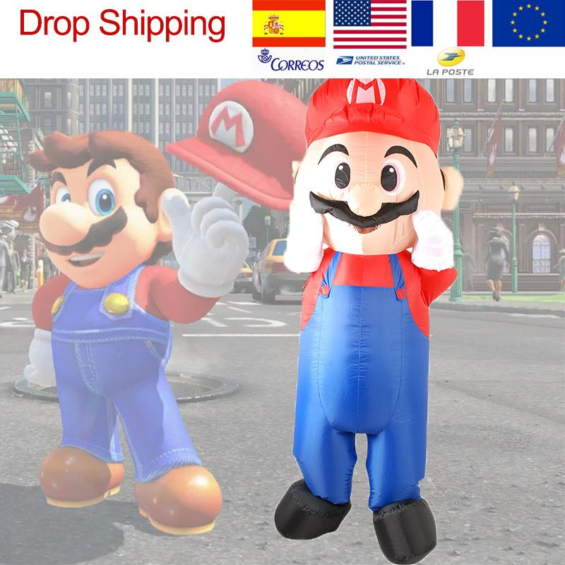 Inflatable Mario Riding Costume For Adults Blowup Anime Inflatable Costume Halloween Mascot Party Costumes Grow Up Suit Clothes