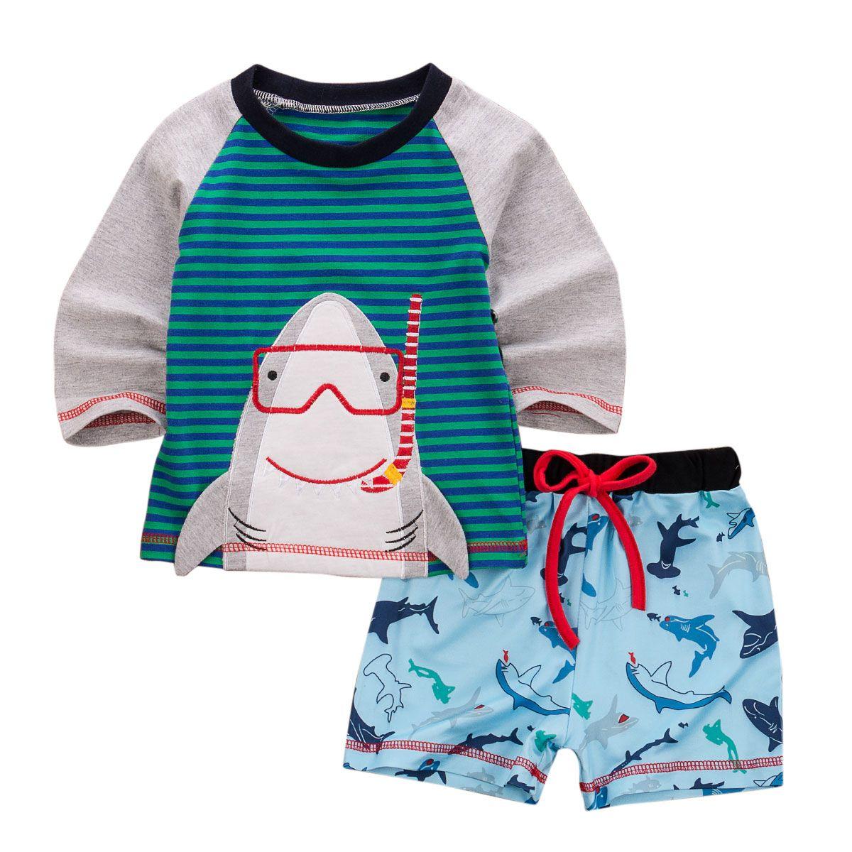 Детский набор новорожденный малыш мальчик печати хлопок футболка короткие брюки хлопок с длинным рукавом Осень Лето основные ежедневные Бесплатная доставка