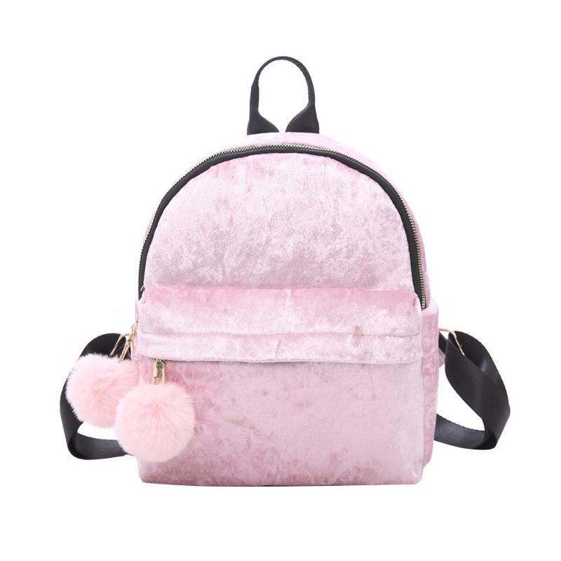 43b689bc69 Women Mini Velvet Backpack Preppy Hair Ball Shoulder Travel School Bags For  Girls Female Cute Backpacks Women S Small Backpack Bags Rucksack From  Saltyk