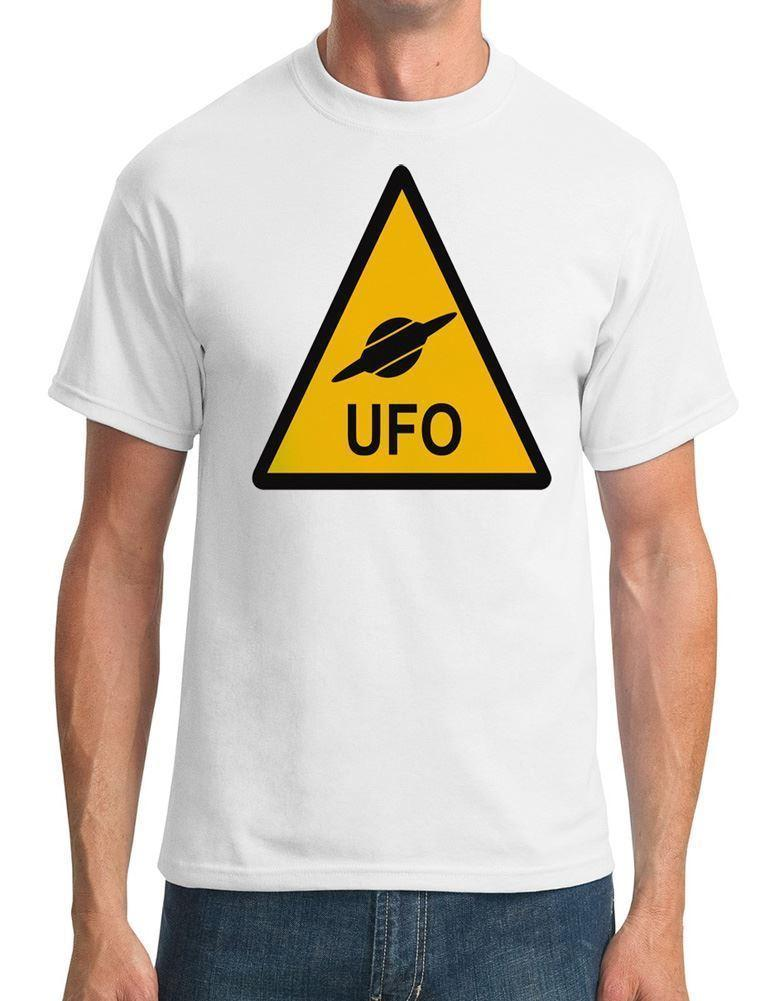 UFO Warning Sign - Funny - Mens T-Shirt Funny free shipping Unisex Casual  top