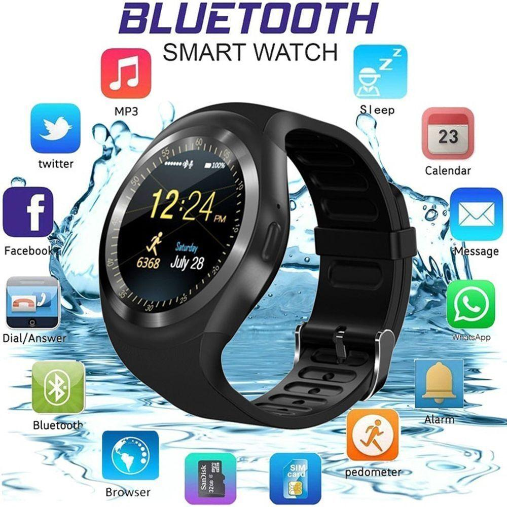 31ddb9656b4 Y1 Waterproof Bluetooth Smart Watch Phone Mate Touch Screen Round Face Smartwatch  Phone With SIM Card Slot Smart Watch For IOS Android Smart Digital Watch ...