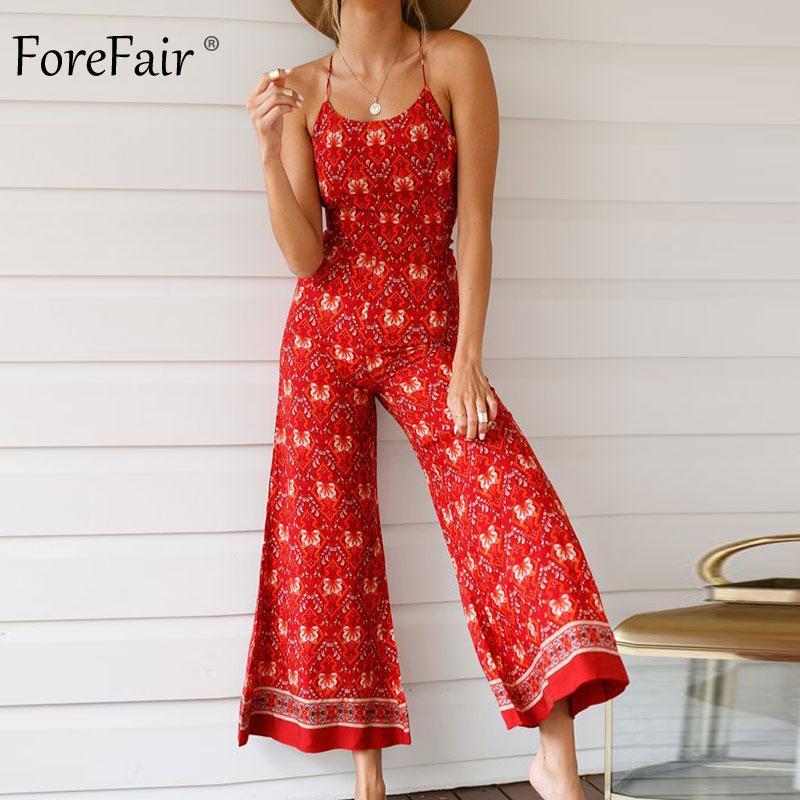 e58038367322 Forefair Beach Jumpsuit Bohemian Vintage Floral Print Backless ...