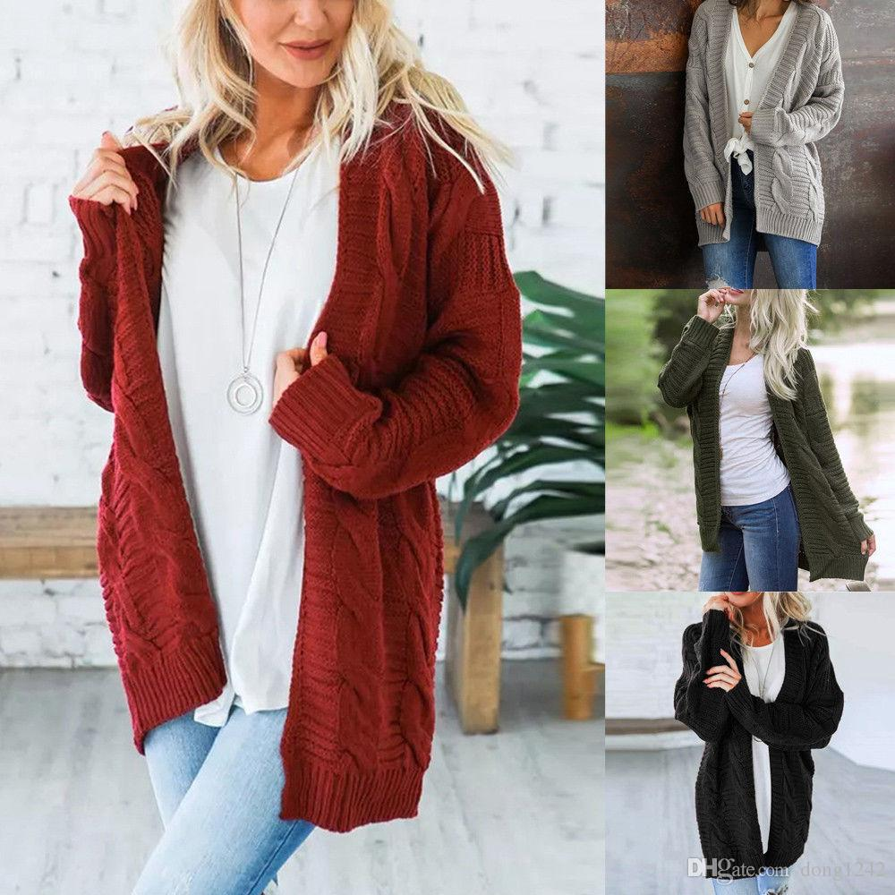 f21b38e2ddd Oversized Womens thick Knitwear Cardigan Sweater Coat Chunky Knitted  Outwear top