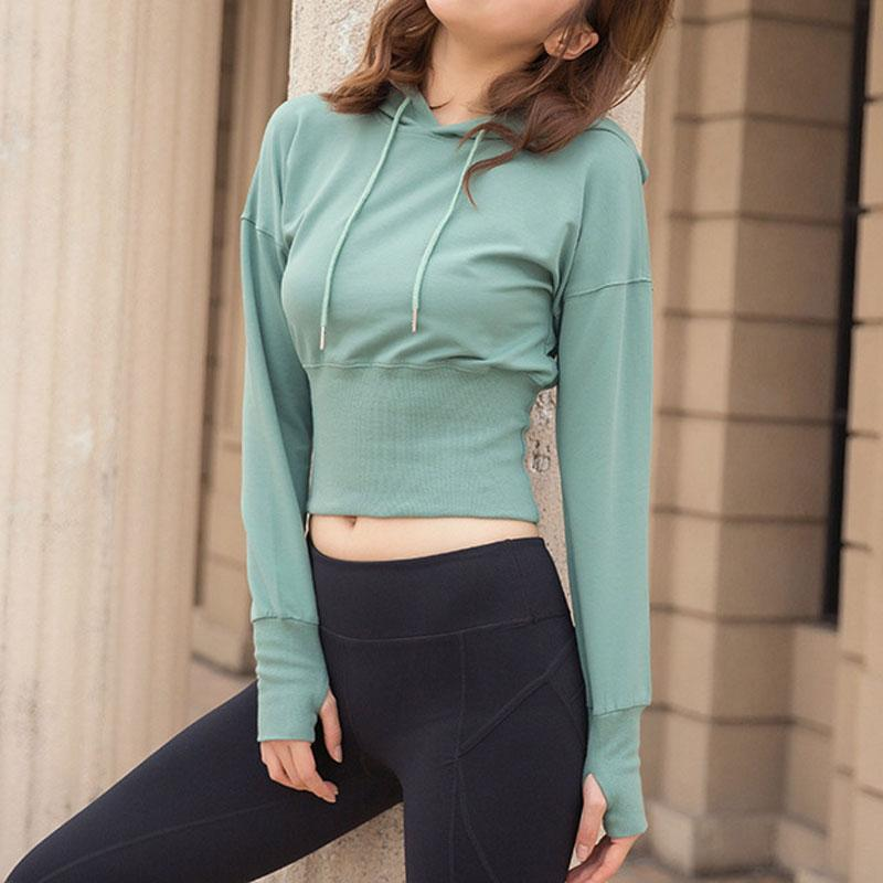 cff9226c0568 2019 Women Gym Yoga Crop Tops Hoodies Yoga Shirts Long Sleeve Thumb Hole  Fitted Workout Tops Fitness Running Sport Shirt Sportswear From Comen, ...