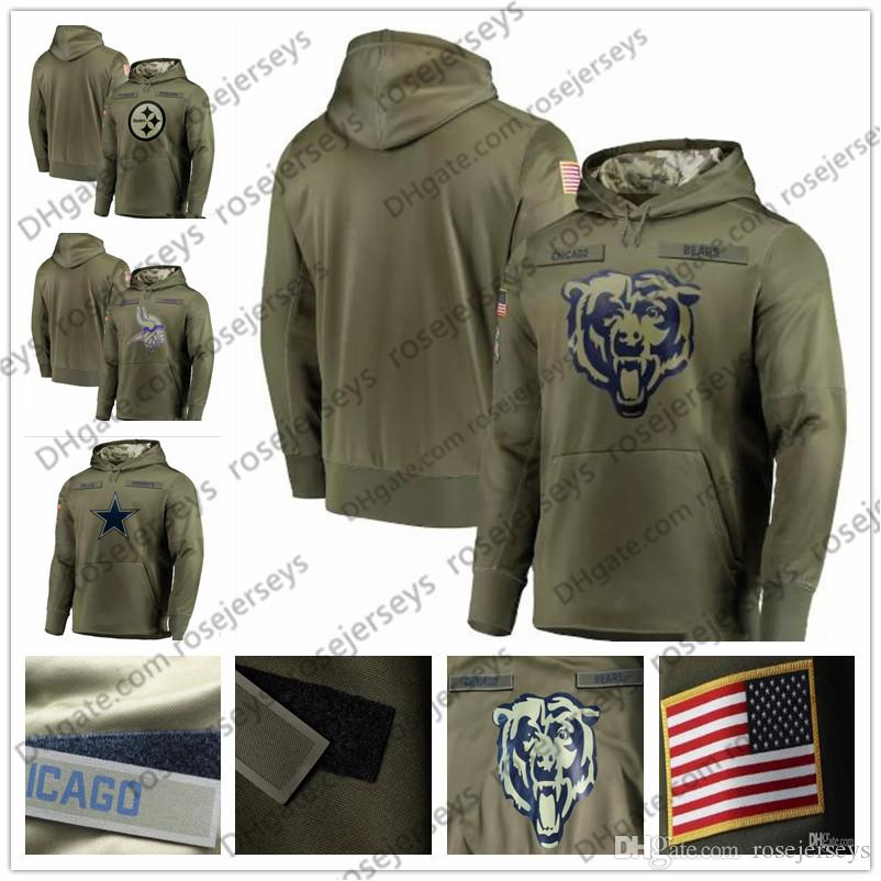 sports shoes 5f8a7 d68cd Chicago Minnesota Bears Vikings Dallas Pittsburgh Cowboys Steelers Olive  Sweatshirt Salute to Service Pullover Hoodie Men Women Kid Youth