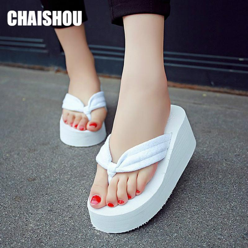 Slippers Sandals Chunky Summer Wedges Heels Chaishou Shoes Waterproof Casual Sole Flops Fashion Women Sexy Flip Lady Cs473 DEH29I